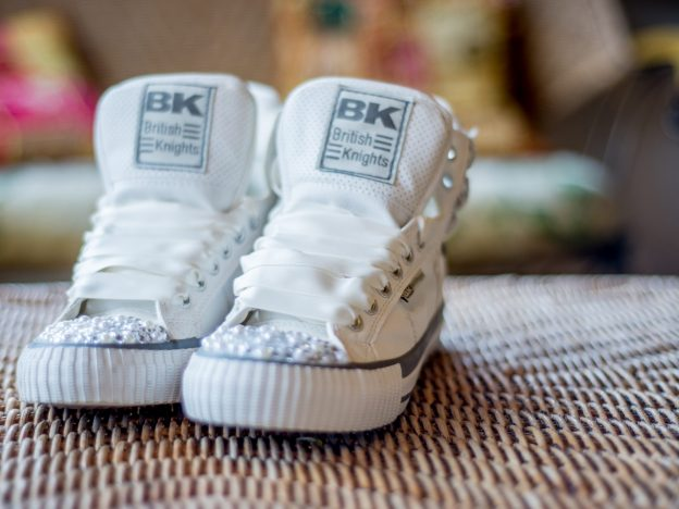 BK trainers with white satin laces and pearls and diamontes on the toes