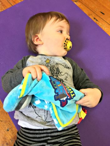 My First Thomas Comforter and Toy Review   Lying on a gym mat http://oddhogg.com