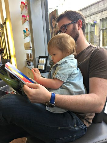 Piglet's First Hair Cut | Waiting and reading a magazine https://oddhogg.com
