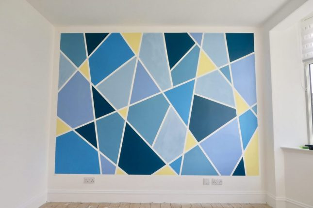 Creating A Geometric Accent Wall At Home | Finished Wall https://oddhogg.com