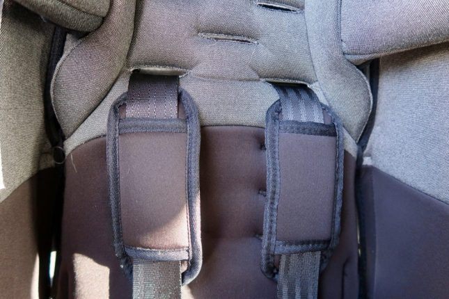 Diono Radian 5 Extended Rear Facing Car Seat Review | Straps holes for adjusting height https://oddhogg.com