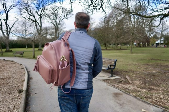 Skip Hop Greenwich Changing Bag Review | Daddy carrying the bag https://oddhogg.com