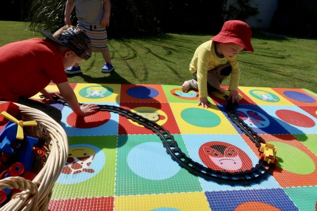 Skip Hop Reversible Playmat Review| Playing Trains https://oddhogg.com