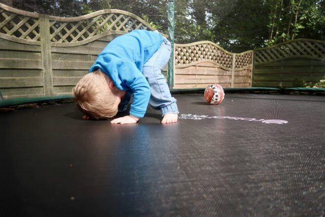 Skyhigh Orbisphere Trampoline Review | Piglet Playing With Ball https://oddhogg.com