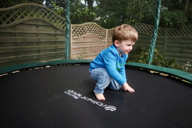 Skyhigh Orbisphere Trampoline Review | Piglet on trampoline https://oddhogg.com