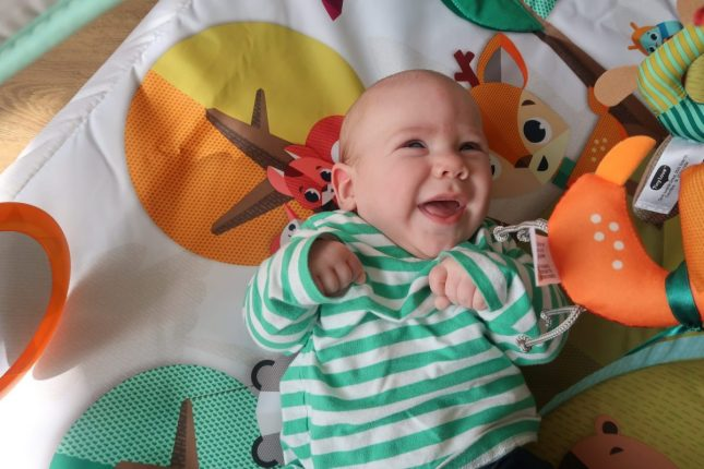 Baby JJ is 4 months old | On his play mat www.oddhogg.com