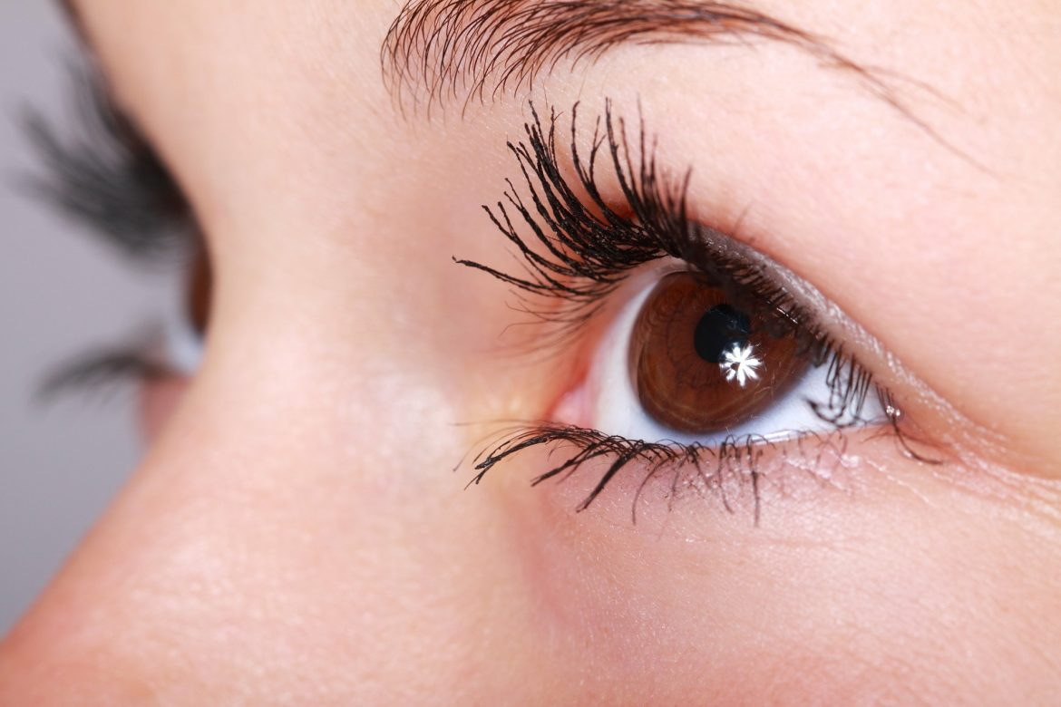 A woman's eye close up. Her eyes are brown and she is wearing mascara