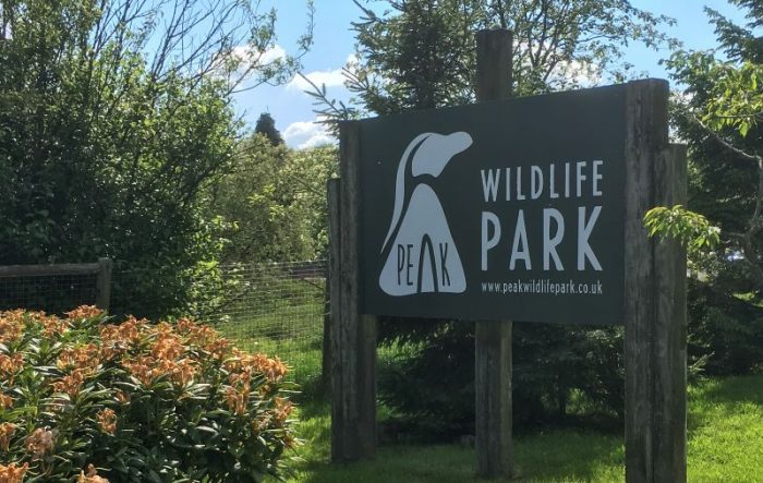 "A wooden sign reading ""wildlife park"" surrounded by greenery and trees"