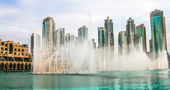 The fountains at Dubai Mall during a show