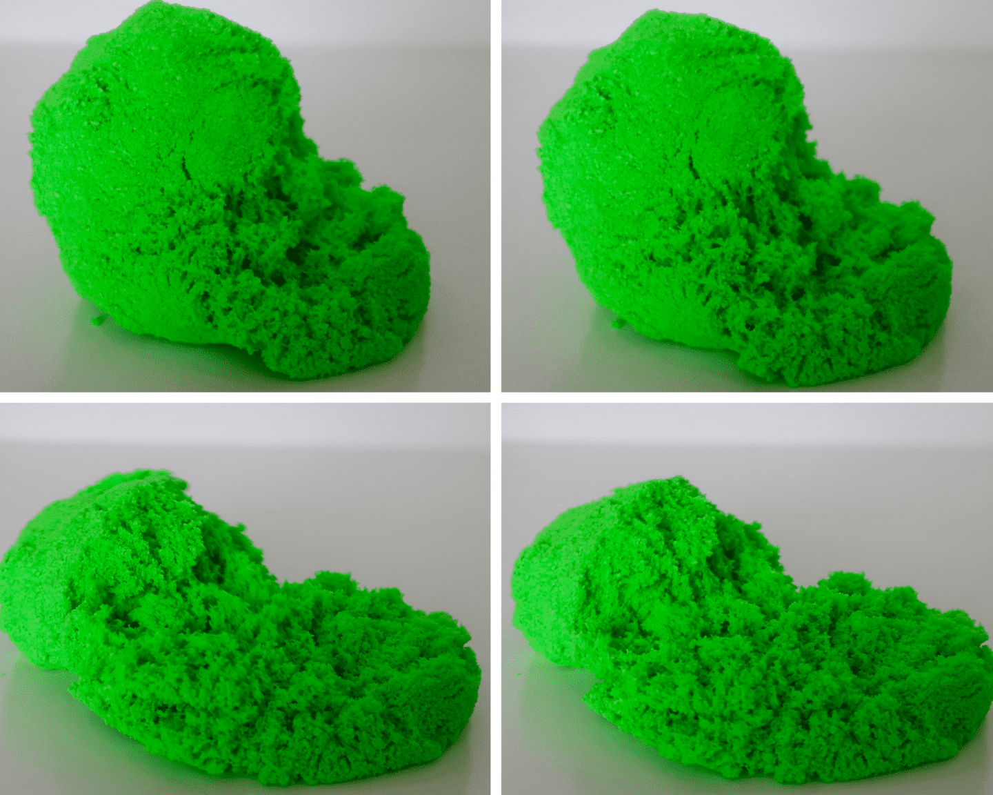 A set of 4 pictures of green sensory foam as it unfurls itself from a ball and appears to melt