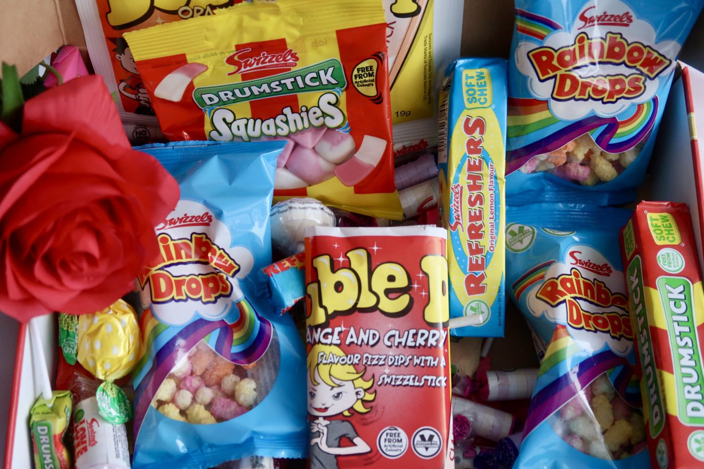 A hamper of retro sweets. Dib Dabs, Rainbow Drops, lollys and more.