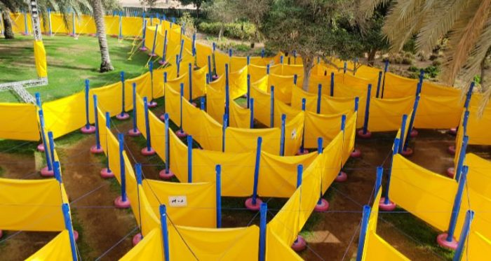 A maze made out of yellow sheeting