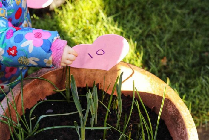 A heart with the number 10 on it being pulled out of a plant pot by a child