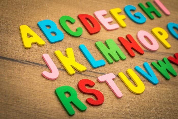 Rainbow coloured alphabet laid out in 3 lines