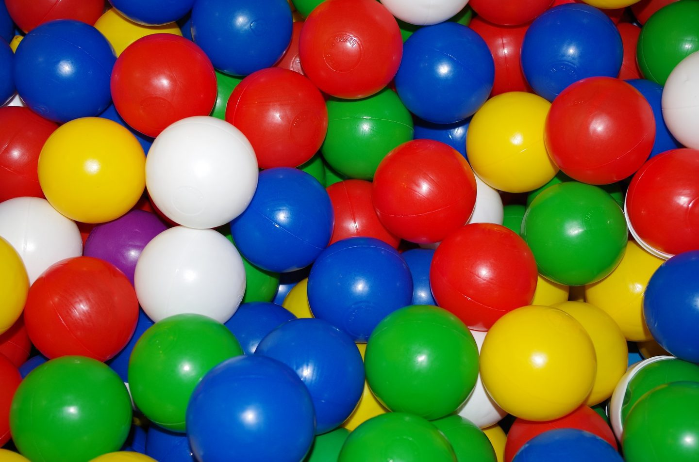 Brightly coloured plastic balls