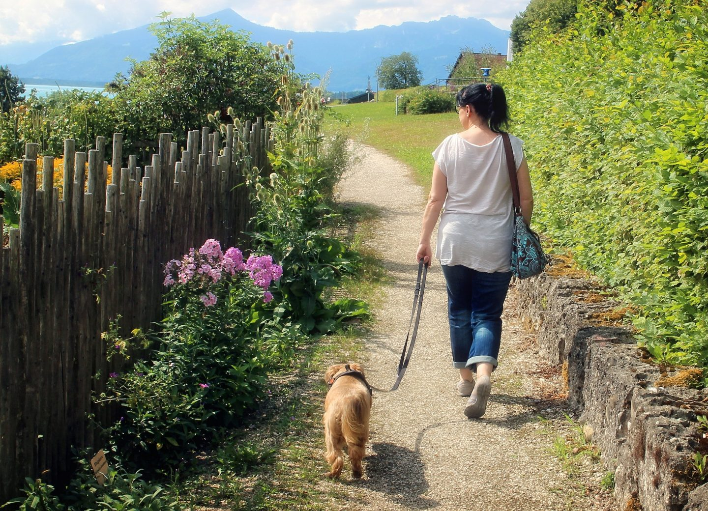 A woman walking down a lane with a dog on a lead