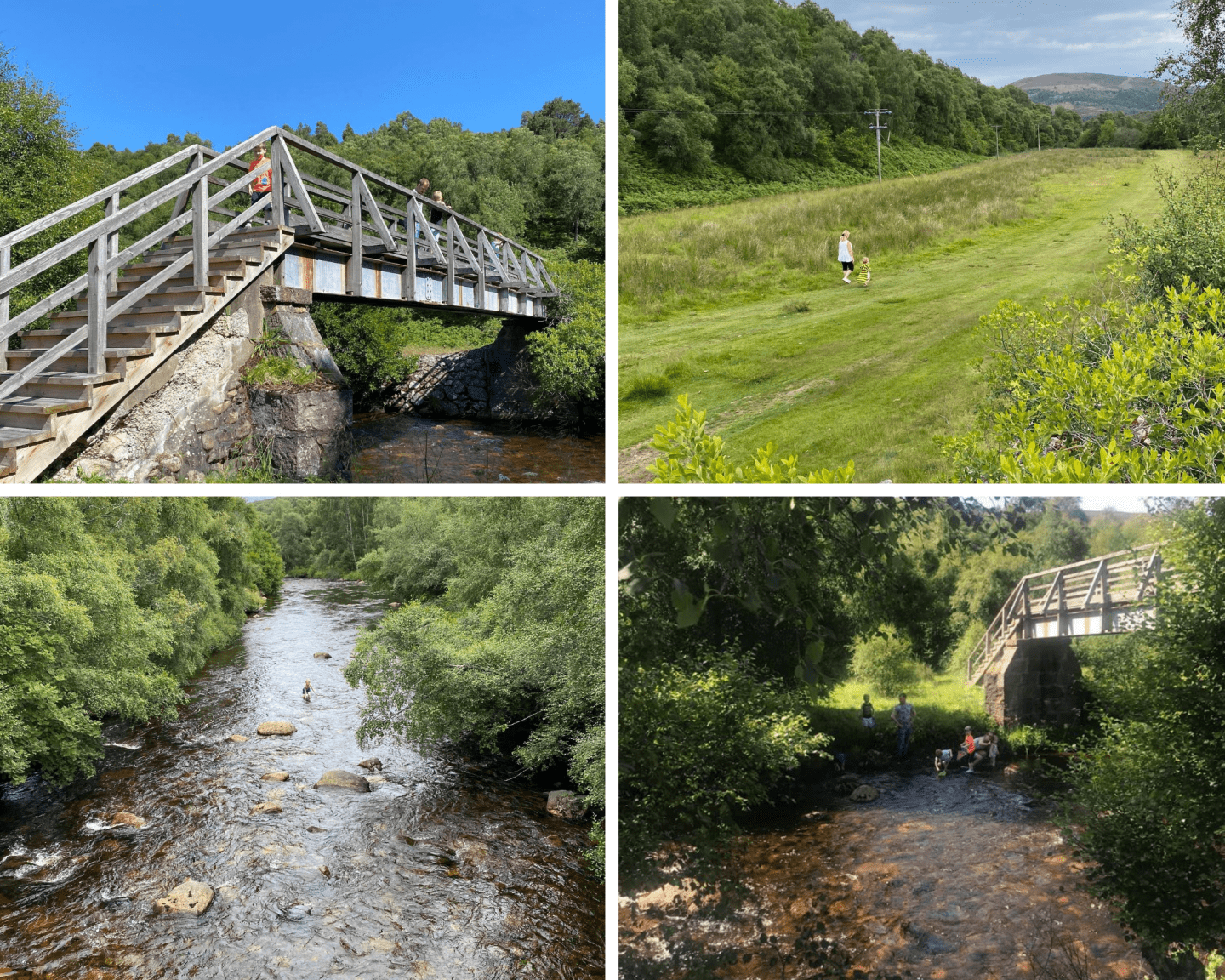 A grid of 4 photos from the River Gairn area. The show the water and a bridge over it.