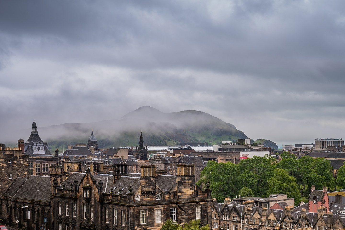 The rooftops over Edinburgh