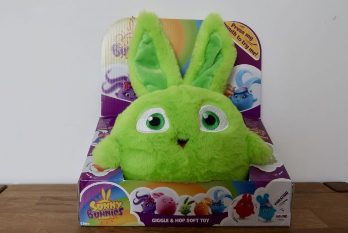 A Sunny Bunnies Giggle And Hop toy in it's box