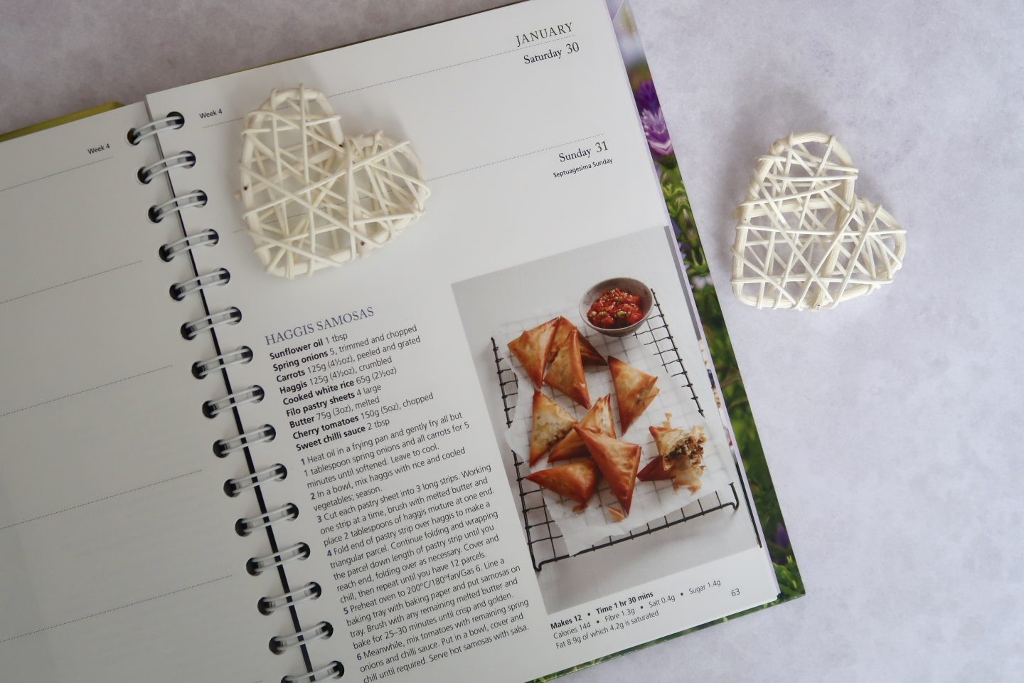 A recipe for Haggis samosa in a page of a diary