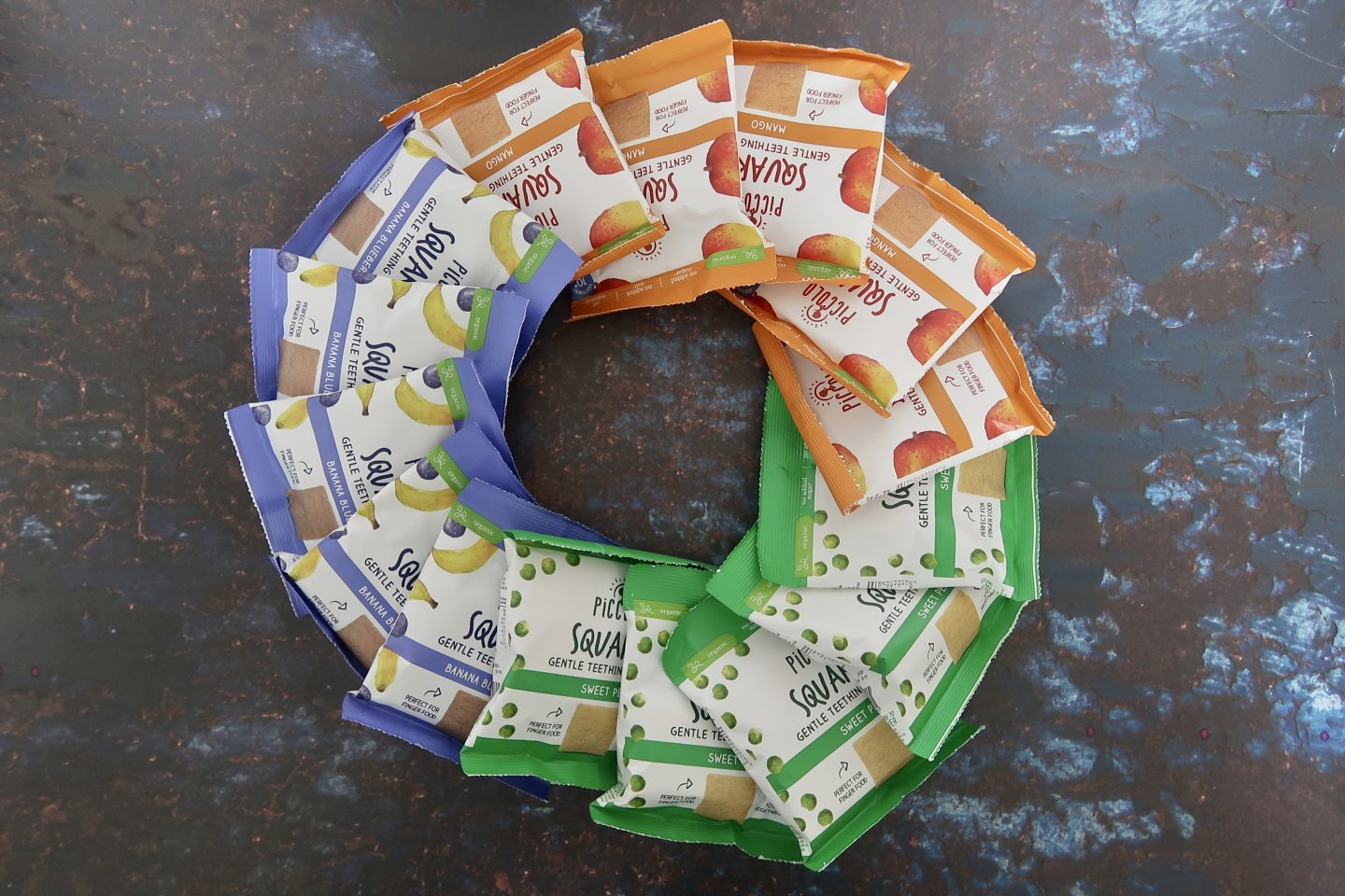 Piccolo snack packets laid out in a circle
