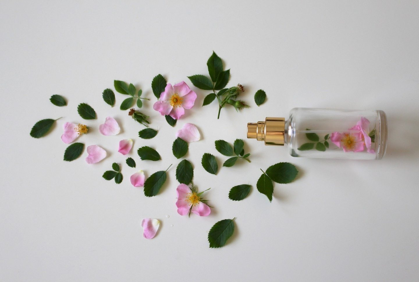 A perfume bottles lying on it's side with flower petals and leaves inside it and on the surrounding area