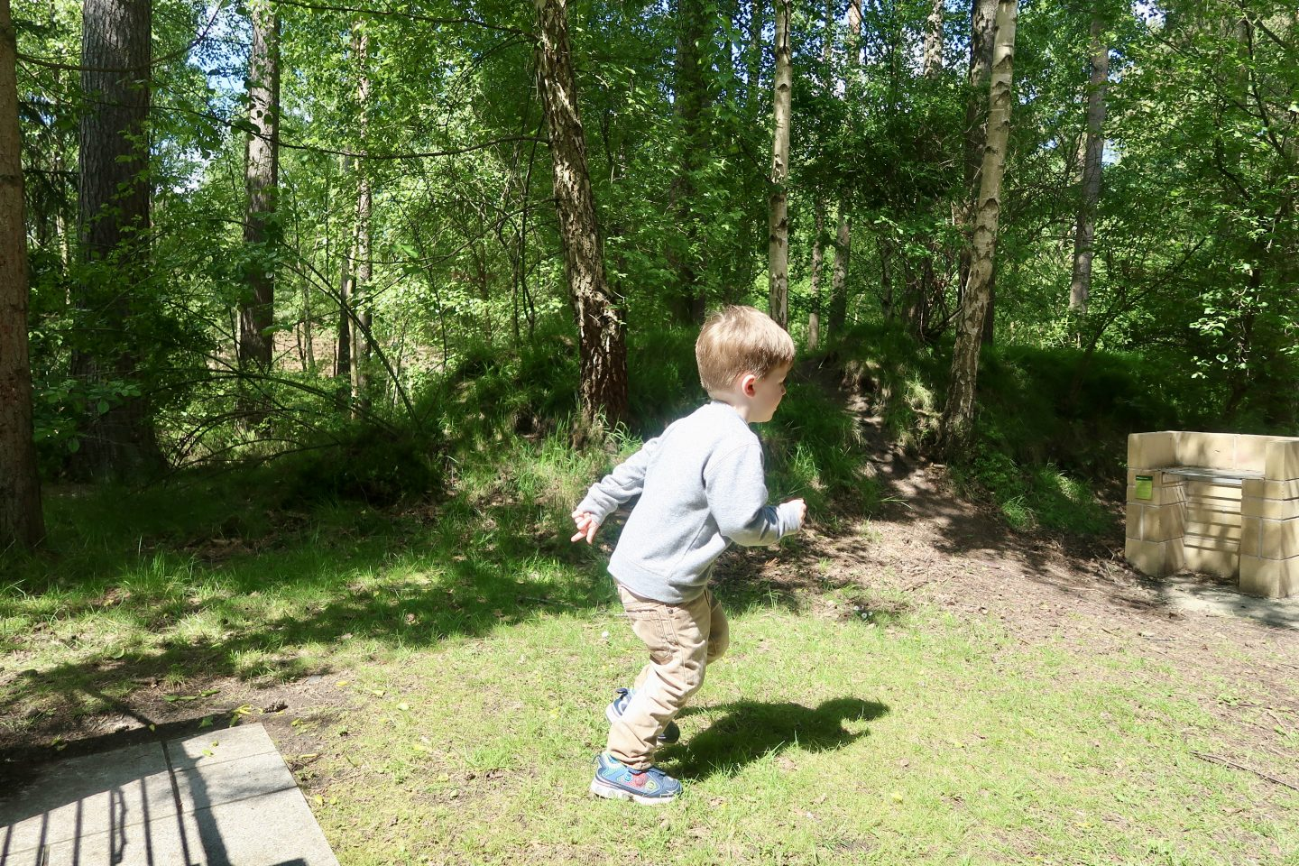 A boy running on grass and amongst trees at Center Parcs